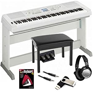 yamaha dgx 650 white digital piano bundle w wood bench triple pedal musical. Black Bedroom Furniture Sets. Home Design Ideas
