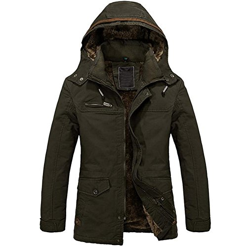 SODIAL (R) Uomo Caldo Giacche Piumino Capispalla pelliccia allineato inverno spesso cappotto lungo con cappuccio verde militare L