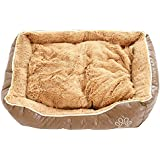 BUNNY BUSINESS Luxury Super Soft Dog Beds Leather and Fleece, XXL, 48-inch