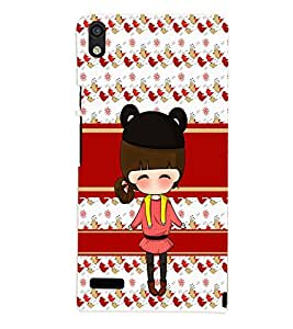 PrintVisa Cute Cartoon Art Print & Pattern Girl 3D Hard Polycarbonate Designer Back Case Cover for Huawei Acend P6