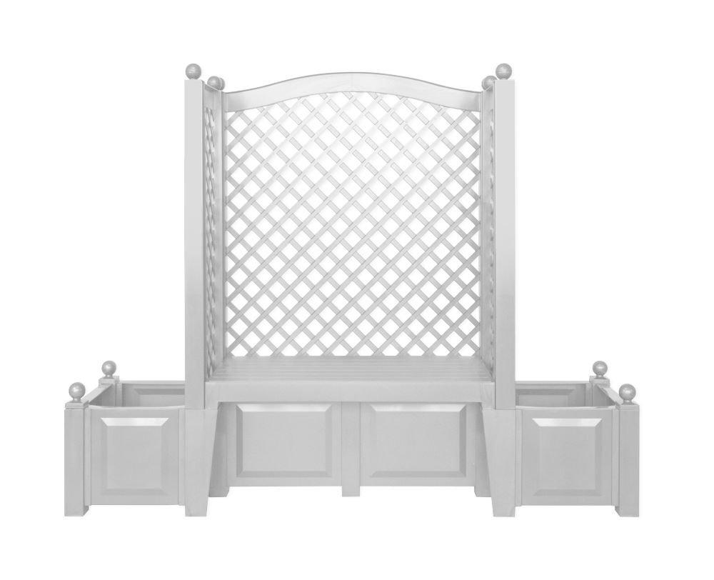 khw 43701 gartenbank london inklusiv 2 pflanzk sten und spalier wei g nstig bestellen. Black Bedroom Furniture Sets. Home Design Ideas