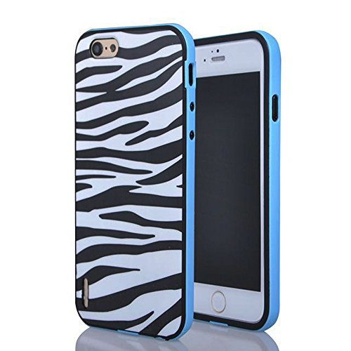 Meaci® Cellphone Case For Iphone 6 4.7 Inch Case 2 In 1 Combo Hybrid Case Dual Layer Bumper With Colorful Border Protective Case (Zebra Print)