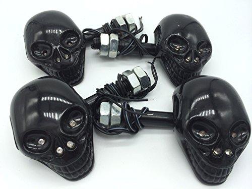 スカル フェイス 汎用 ウインカー (ブラック4個)
