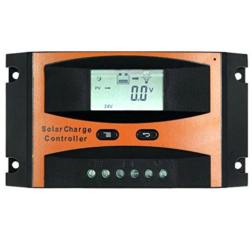 KKmoon Contrôleur de charge de panneau solaire 25 a 12V/24V PWM charge température Compensation surcharge Protection LCD affichage solaire hors réseau