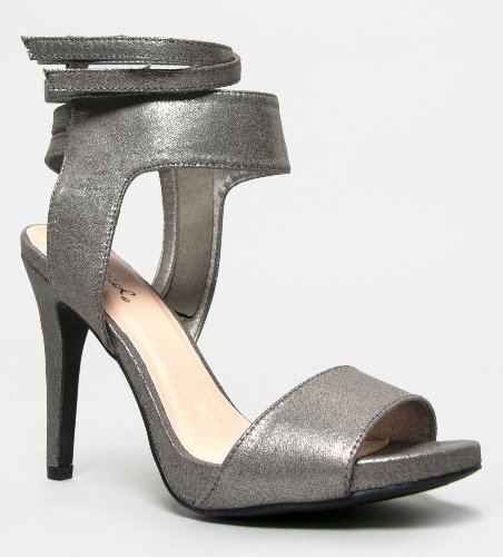 Qupid Gianna-09 Metallic Ankle Strapy Strappy High Heel Sandal