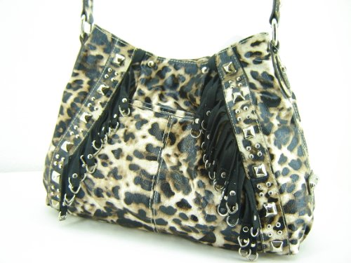 Kathy Van Zeeland Boom Shaker Hobo Handbag Purse ~ Natural Leopard In Color
