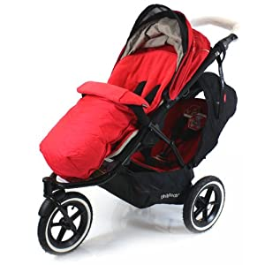 Universal Luxury Footmuff Cocoon - Red For Phil & Teds Double Kit / Navigator / Explorer / Dash / Dot / Vibe from Baby Travel®