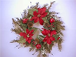 Christmas Snowflakes, Poinsettias, Pomegranates, Pine Cones and Berries Front Door Wreath