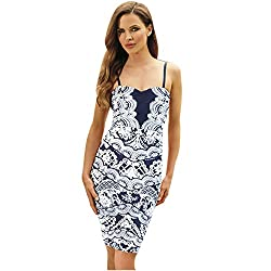 JAUNE Marble White Print on Solid Sky Blue - Slip Dress (Medium, Dark Blue)