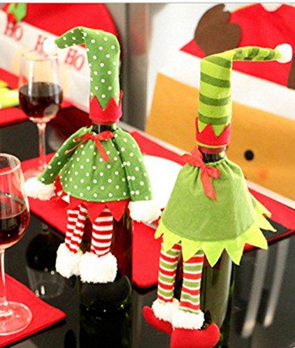 2pezzi Rosso Natalizio con bottiglia di champagne di vino sacchetti di Natale Elfi Gonna tavola