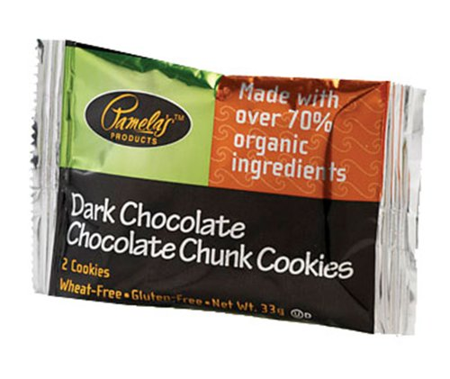 Pamela's Products Dark Chocolate-Chocolate Chunk Cookies, 2-Count Cookies (Pack of 50)