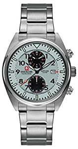 Swiss Military Airbourne Men's Quartz Watch with Silver Dial Chronograph Display and Silver Stainless Steel Bracelet 6-5227.04.009