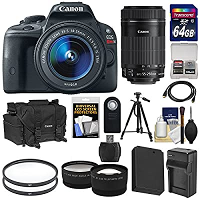 Canon EOS Rebel SL1 Digital SLR Camera & EF-S 18-55mm IS with 55-250mm IS STM Lens + 64GB Card + Battery + Case + Tele/Wide Lenses + Tripod Kit