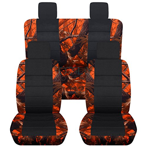 Jeep Wrangler JK (2007 to 2010) Camo and Black Seat Covers: Orange Real Tree - Full Set (19 Prints Available) (Jeep Jk Seat Covers Camo compare prices)