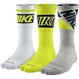 Nike Dri-fit Cushioned Crew Sock (Large, Cyber, Gray, White)