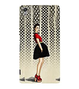 Stylish Girl Design Cute Fashion 3D Hard Polycarbonate Designer Back Case Cover for Sony Xperia C6