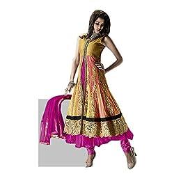 Aagaman Fashions Net Semistitched Salwar Suit (TSVSPSK2917_Magenta)