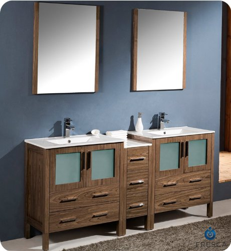 "Fresca 72"" Walnut Brown Double Sink Bathroom Vanity, Cabinet, Mirrors, Faucets front-561564"