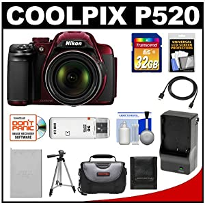 Nikon Coolpix P520 GPS Digital Camera (Red) with 32GB Card + Battery & Charger + Case + Tripod + HDMI Cable + Accessory Kit