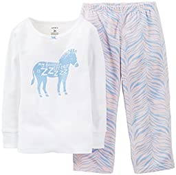 Carter\'s Baby Girls\' 2 Piece Pant PJ Set (Baby) - Zebra - 24 Months