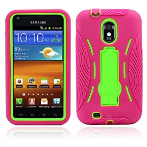 Premium Heavy Duty Hybrid Case (Outer Silicone + Inner Hard Protector Case w/ Kickstand) Galaxy S2 Sprint Samsung Epic Touch 4g (Model SGH D710) - Hot Pink and Green (MagicMobile Charm Gratis)