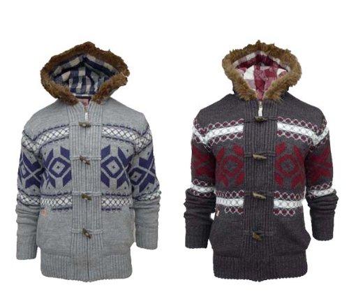 Mens Tokyo Laundry 1K1133 Chunky Knit Nordic Hoody (Small - 36