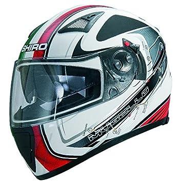 Casque moto intégral SHIRO SH-3700 GP MUGELLO - Double écran - Blanc / Noir