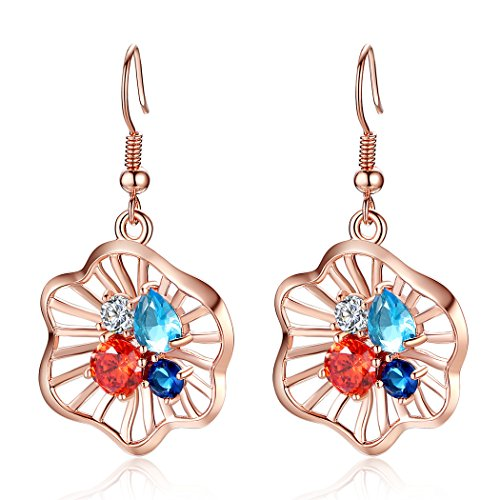 Bamoer Inlay Aaa Cubic Zircon Rose Gold Plated Brass Charm Flower Pierced Drop Earrings