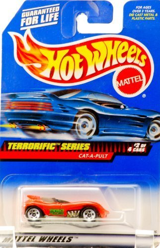 1998 - Mattel - Hot Wheels - Terrorific Series - Cat-A-Pult (Orange) #2 of 4 - The Hunchback of Los Angeles - Collector #978 - 5 Spoke Wheels - New - Out of Production - Rare - Limited Edition - Collectible