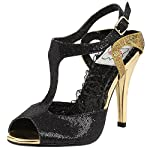 Unqiue and Fashionable Black and Gold Sequin T-Strap Sandals with 4 Inch Heels