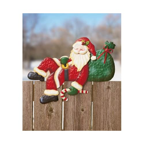 SANTA CLAUS CLAUSE Fence Topper Christmas WInter Holiday Outdoor Decor Brand New