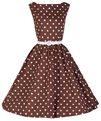 Lindy Bop 'Audrey' Chocolate Polka Dot 'Pretty Woman' Style Swing Dress
