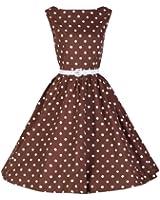 Lindy Bop 'Audrey' Chocolat Pois 'Pretty Woman' Style Robe Trapèze