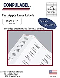 Compulabel White Address Labels for Laser and Inkjet Printers, 2-5/8 x 1 Inches, Permanent Adhesive, 30 Per Sheet, 100 Sheets per Carton (310904)