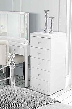 MY-Furniture - JULIANNA - Cómoda alta de vidrio blanco con 5 cajones - Gama Chelsea