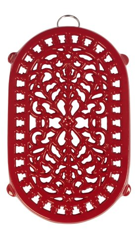 Old Dutch Red Oblong Trivet, 9-3/4 By 6-Inch front-168655
