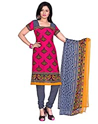 Yehii Women's Synthetic Pink Floral dress material Unstitched Salwar Kameez Dupatta for women party wear low price Below Sale Offer