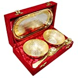 DecorifyMe Gift Gold Silver Set Silver Gold Plated 5pc Set Of 2 Bowls 2 Spoons 1 Tray Oval Set