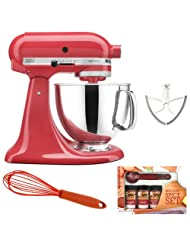 KitchenAid Artisan KSM150 Stand Mixer (Watermelon) + Beater Blade + Kamenstein Mini Measuring Spoons Spice Set + Silicon Whisk by KitchenAid