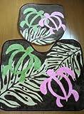 ハワイアン雑貨/ トイレマット2点セット(ウォシュレット用) ホヌ/ピンク 【ハワイ雑貨】【お土産】
