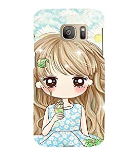 Fuson Premium Back Case Cover Cute girl With yellow Background Degined For Samsung Galaxy S7::Samsung Galaxy S7