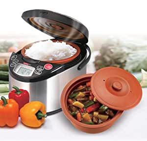 VitaClay VF7900-4 Chef Gourmet 8-Cup Rice and Slow Cooker Pro, Brushed Stainless
