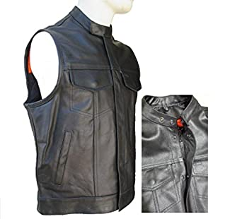 GILET CUIR BIKER SONS OF ANARCHY DOUBLE FERMETURE TAILLE XL