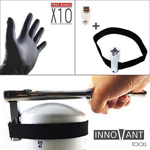 INNOVANT oil filter wrench strap tool with adjustable no slip nylon belt best for removing motorcycles cars trucks and heavy duty oil filters fits diameter less than 120 mm (4 5/8