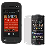 Solid Black Snap On Rubberized Hard Cover Case + Clear LCD Screen Protector for Nokia N97 Cell Phone By GTMax