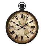 French Antique Iron Pocket Watch Style Large Wall Clock
