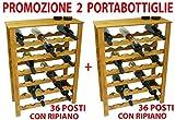 2 pz cantinetta portabottiglie in legno 36+36 posti