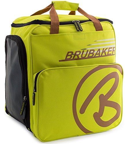BRUBAKER Skischuhtasche Helmtasche Skischuhrucksack Super Champion Hellgrün/Hellbraun - Limited Edition -
