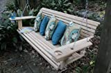 5 Foot Handmade Cypress Porch Swing with Cupholders