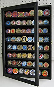 56 Challenge Coin / Casino Chip Display Case Cabinet Holder Shadow Box, with Glass Door (COIN56-BL)